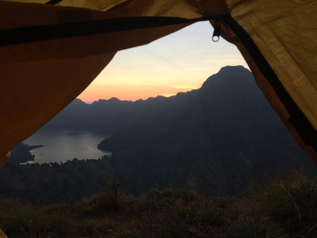 Route Indonesië Zonsondergang Mount Rinjani
