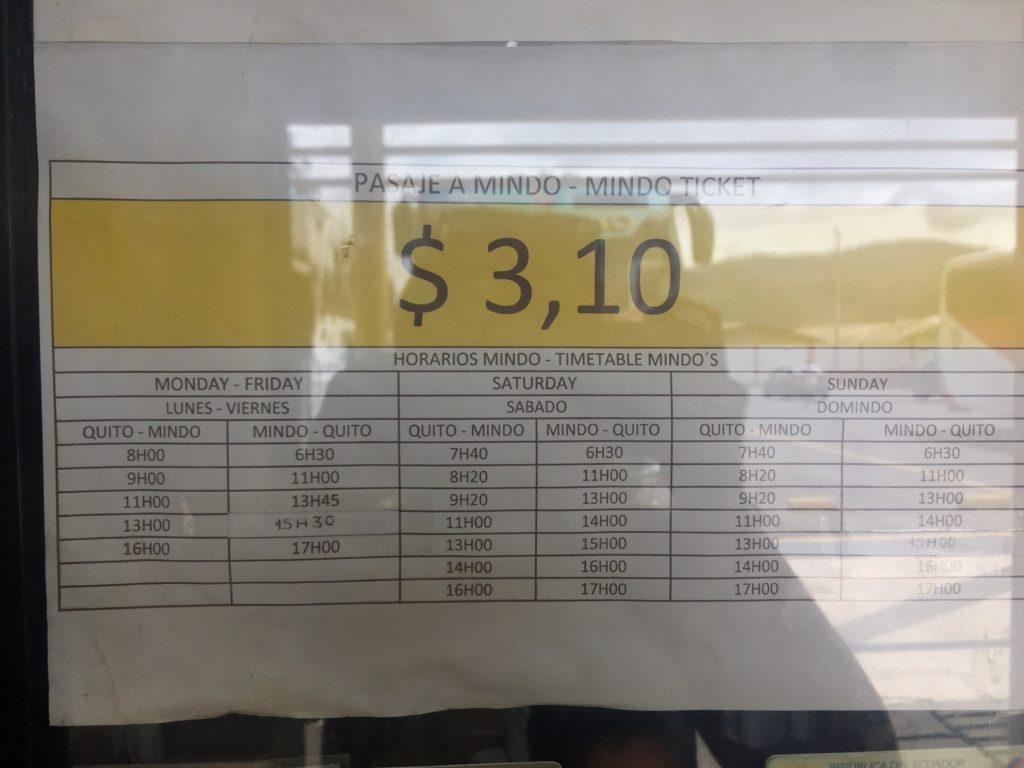 Bus Quito -Mindo