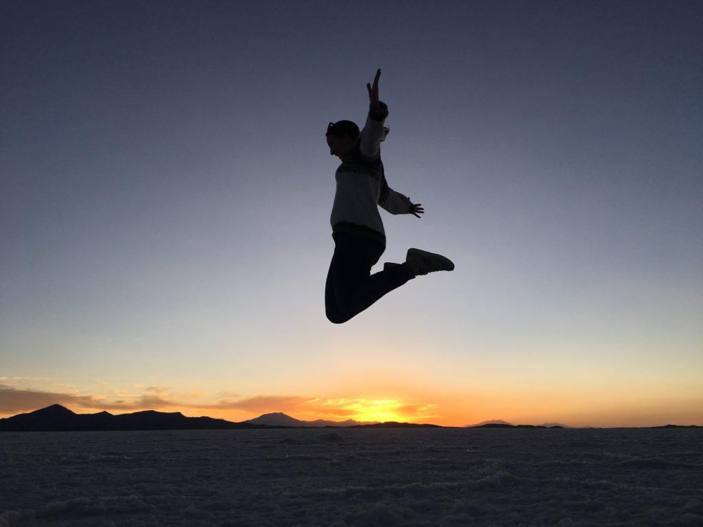 Zonsondergang zoutvlaktes in Bolivia