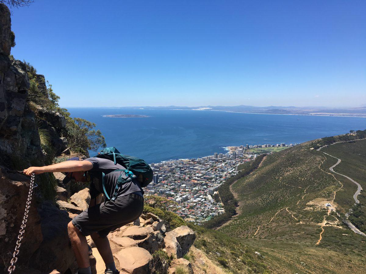 Moeilijkere route genomen, lekker klimmen en klauteren